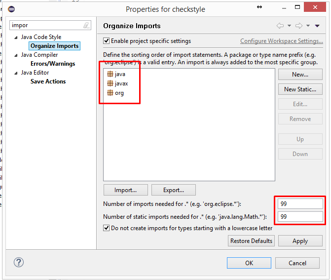 Organize Imports settings in Eclipse